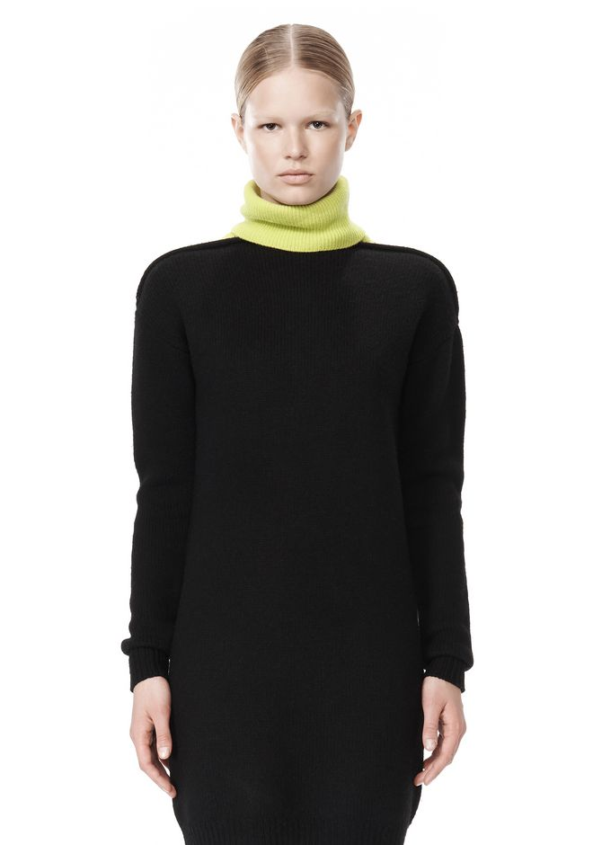 ALEXANDER WANG SPLITTABLE TURTLENECK DRESS KNIT DRESS Adult 12_n_d
