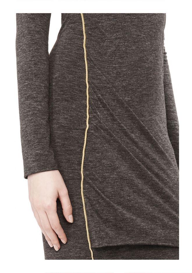 T by ALEXANDER WANG MOHAIR JERSEY LONG SLEEVE DRESS WITH TWIST DRAPE Short Dress Adult 12_n_a
