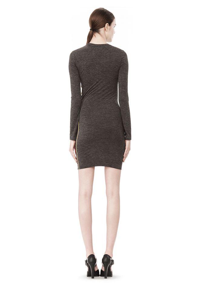T by ALEXANDER WANG MOHAIR JERSEY LONG SLEEVE DRESS WITH TWIST DRAPE Short Dress Adult 12_n_r