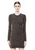 T by ALEXANDER WANG MOHAIR JERSEY LONG SLEEVE DRESS WITH TWIST DRAPE Short Dress Adult 8_n_d