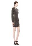 T by ALEXANDER WANG MOHAIR JERSEY LONG SLEEVE DRESS WITH TWIST DRAPE Short Dress Adult 8_n_e