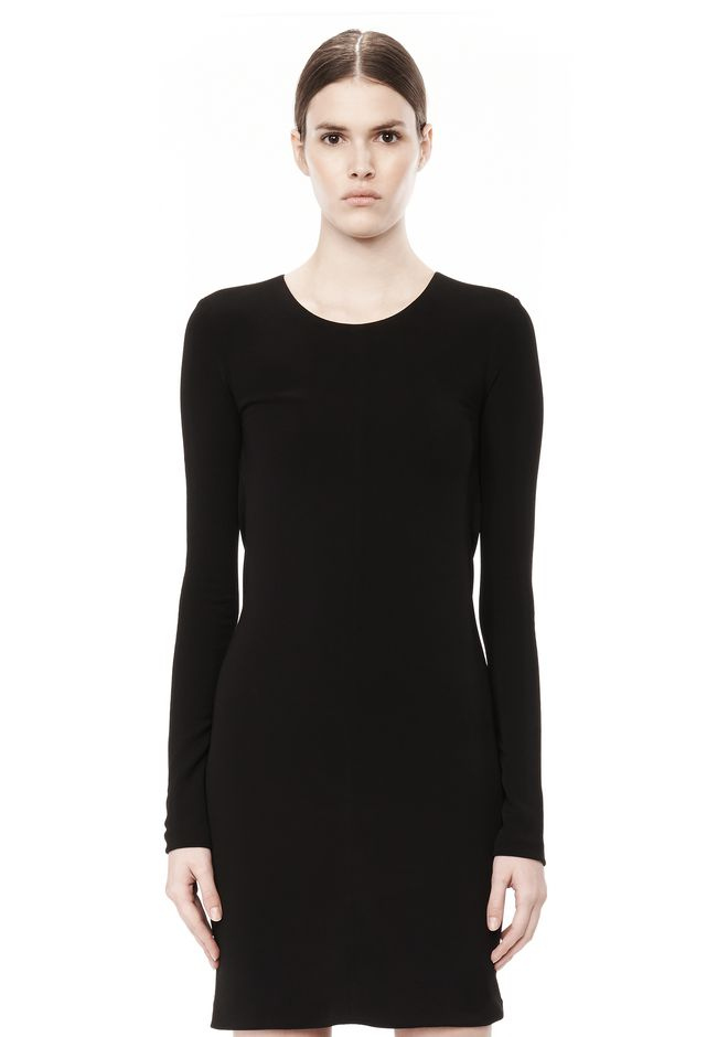 T by ALEXANDER WANG MATTE JERSEY LONG SLEEVE DRESS WITH DRAPE DETAIL Short Dress Adult 12_n_d