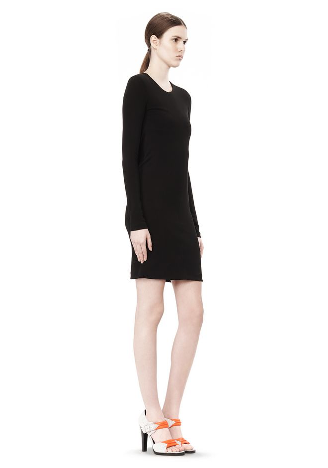 T by ALEXANDER WANG MATTE JERSEY LONG SLEEVE DRESS WITH DRAPE DETAIL Short Dress Adult 12_n_e