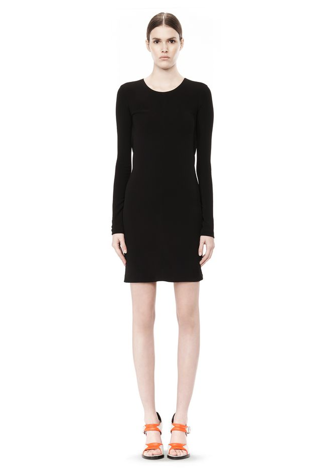 T by ALEXANDER WANG MATTE JERSEY LONG SLEEVE DRESS WITH DRAPE DETAIL Short Dress Adult 12_n_r