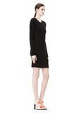 T by ALEXANDER WANG MATTE JERSEY LONG SLEEVE DRESS WITH DRAPE DETAIL Short Dress Adult 8_n_e