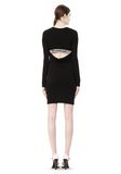 T by ALEXANDER WANG MATTE JERSEY LONG SLEEVE DRESS WITH DRAPE DETAIL Short Dress Adult 8_n_f