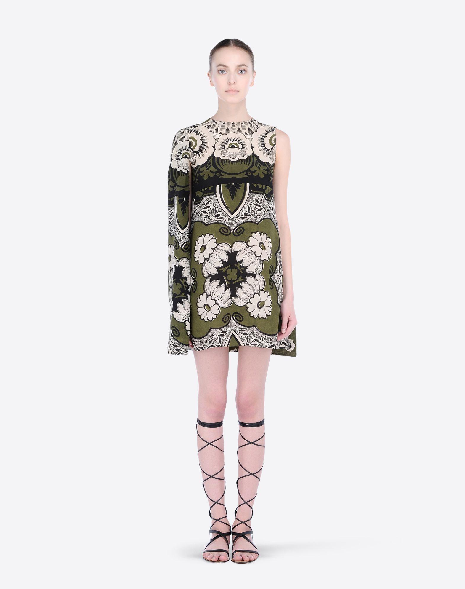 VALENTINO Floral design Round collar Zip Crêpe Sleeveless Unlined  34469679sv