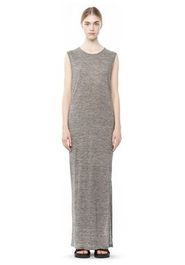 LONG LINEN JERSEY MUSCLE DRESS