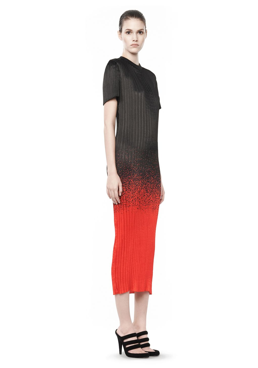 MICRO PLEATED T SHIRT DRESS  Long Dress  Alexander Wang Official ...