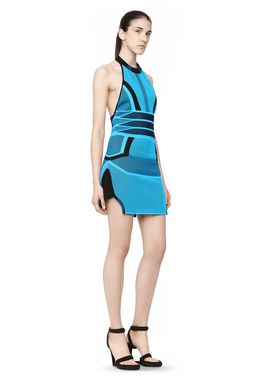 BI COLOR MESH HALTER DRESS