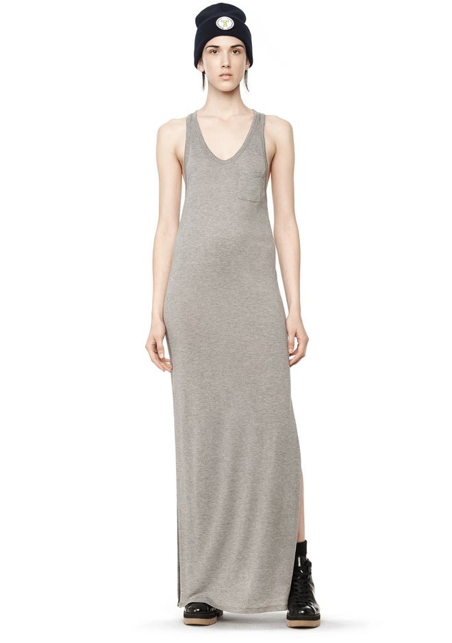 T by ALEXANDER WANG Long dresses CLASSIC TANK DRESS WITH CHEST POCKET