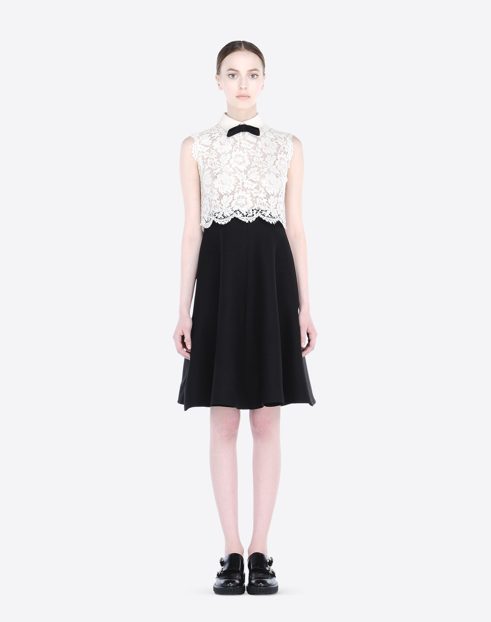 VALENTINO Bow detailing Lace Crêpe Two-tone pattern Hook-and-bar, zip Lined interior Sleeveless  34532033km