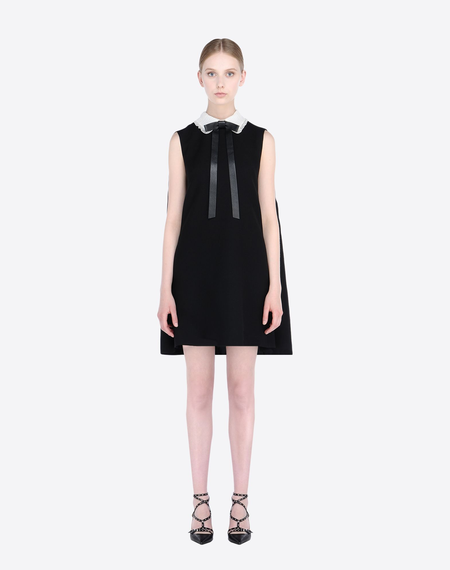 VALENTINO Bow detailing Lace Crêpe Solid color Classic Neckline Zip Multipockets Lined interior  34541363kn