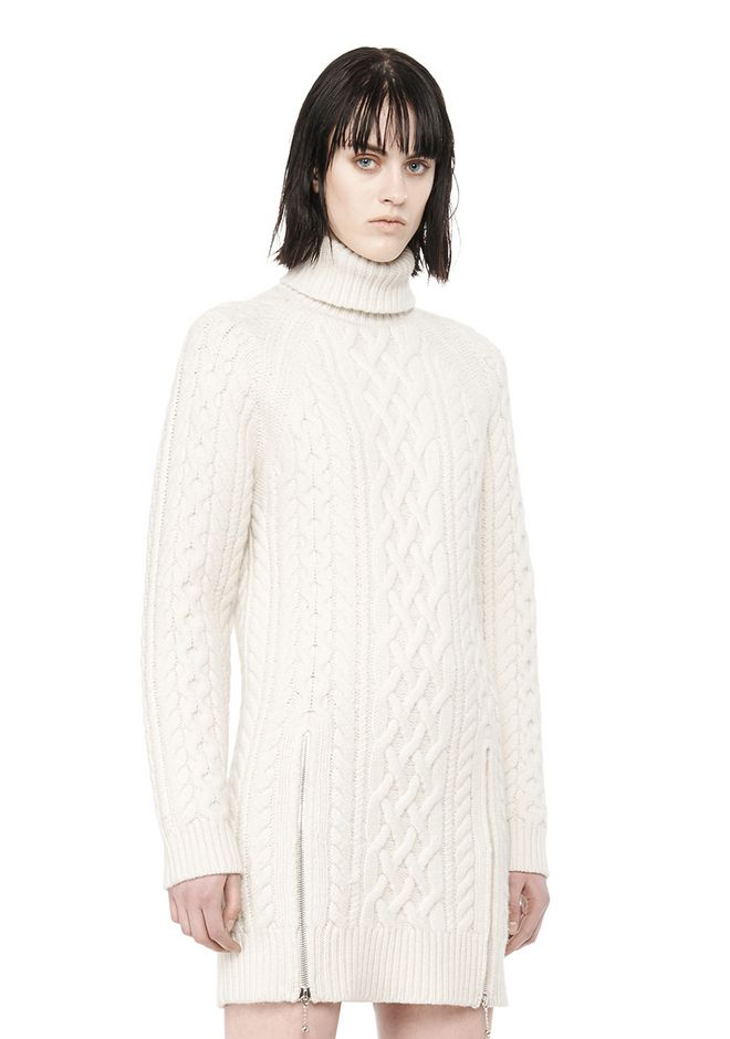 ALEXANDER WANG CABLE KNIT TURTLENECK DRESS  KNIT DRESS Adult 12_n_d