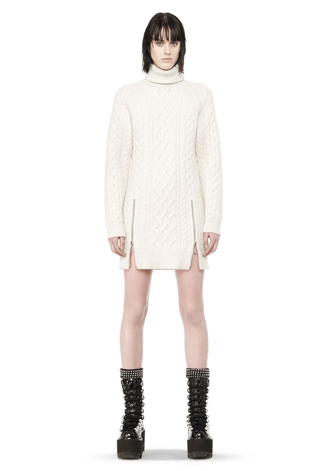 ALEXANDER WANG CABLE KNIT TURTLENECK DRESS  KNIT DRESS Adult 12_n_f