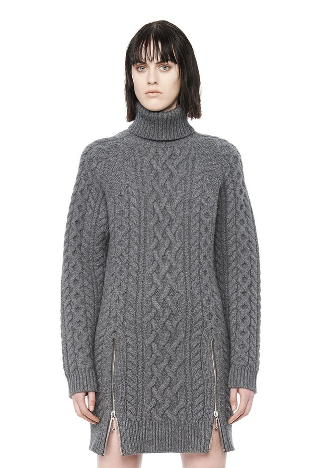 ALEXANDER WANG CABLE KNIT TURTLENECK DRESS  KNIT DRESS Adult 12_n_a