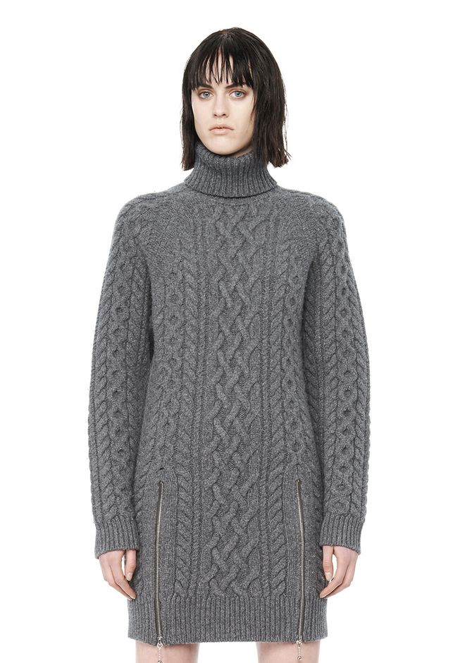 ALEXANDER WANG CABLE KNIT TURTLENECK DRESS  KNIT DRESS Adult 12_n_e