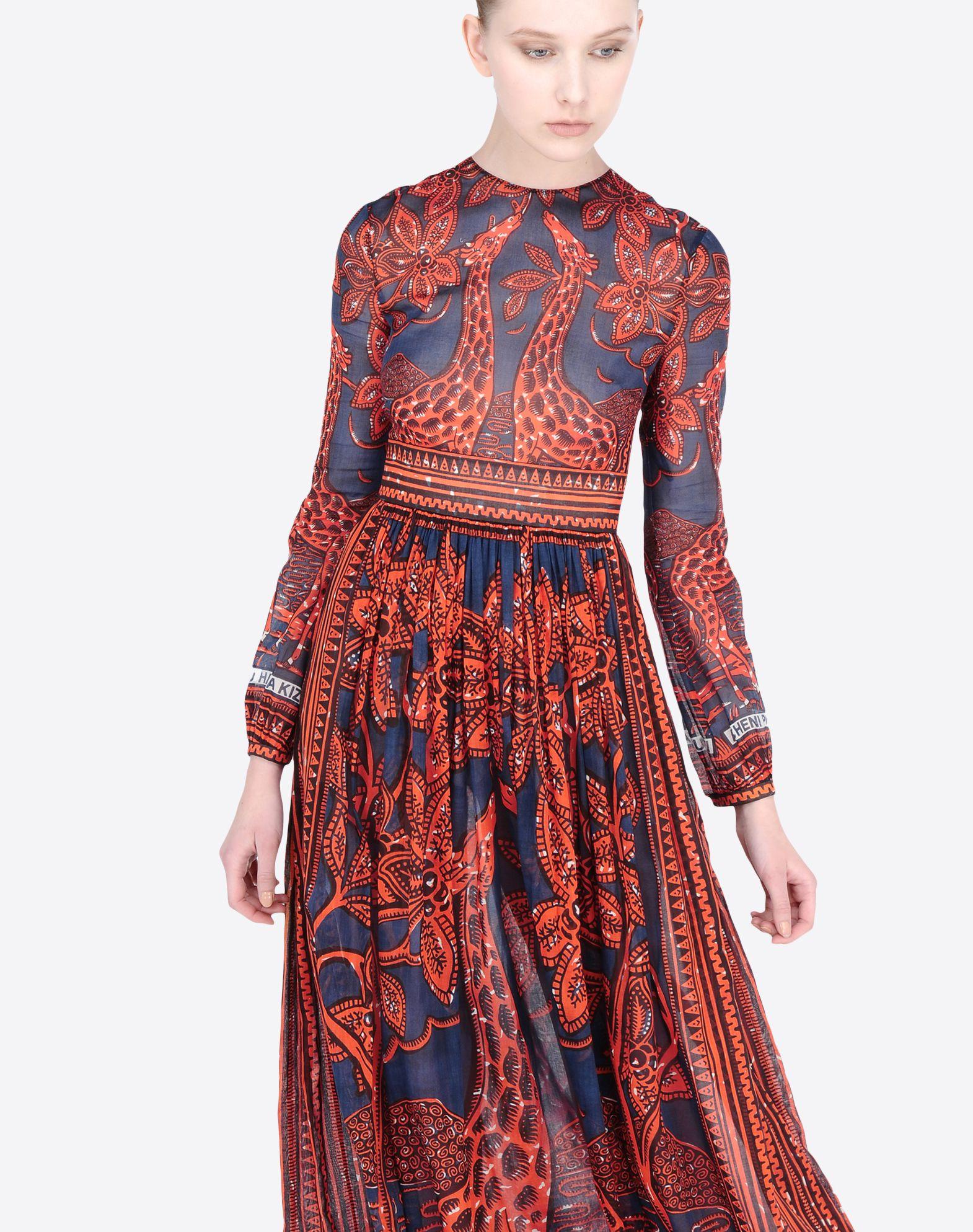 VALENTINO Frills Plain weave Round collar Ethnic design Rear zip closure Internal slip dress Long sleeves  34586074sl