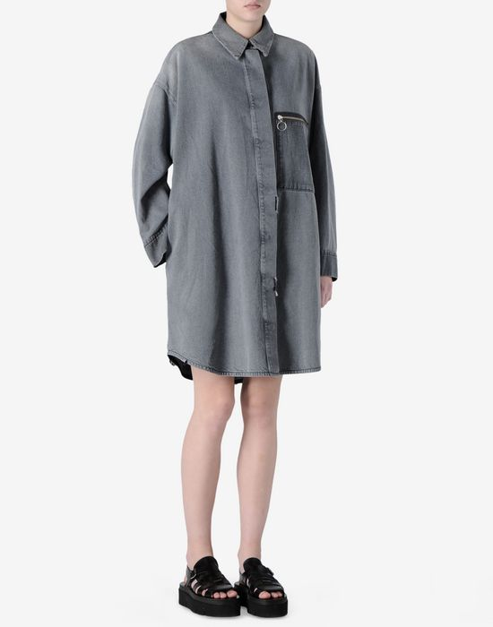 6f7e0552fe7c MM6 MAISON MARGIELA Robe chemisier en denim extra-large Manteau long