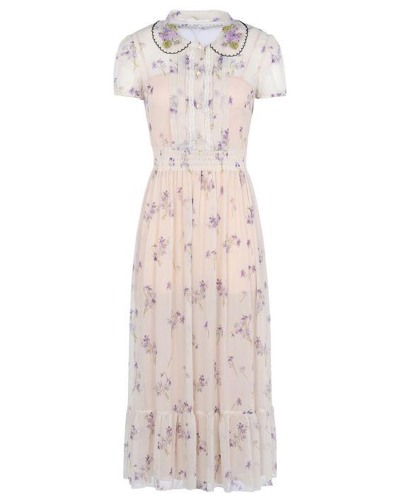 b2a183b5d41ebf REDValentino Violet Printed Silk Dress - Dress for Women ...