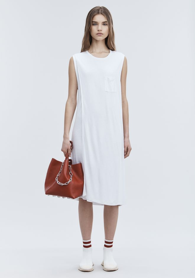 T by ALEXANDER WANG 3/4 Length dresses Women CLASSIC OVERLAP DRESS WITH POCKET