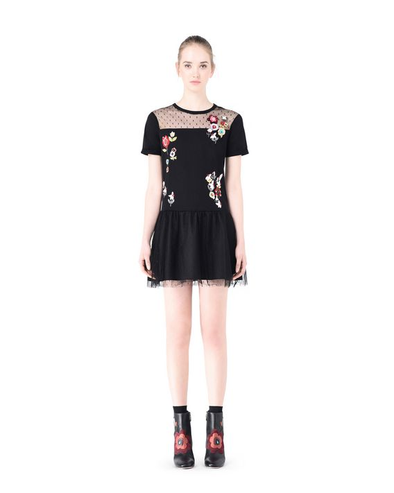 eb2740294db3a REDValentino Fancy Flower Embroidered t Shirt Dress - Dress for ...