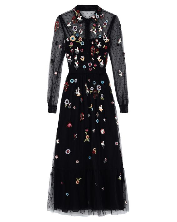 227a7728ea108 REDValentino Fancy Flower Embroidered Tulle Dress - Dress for ...