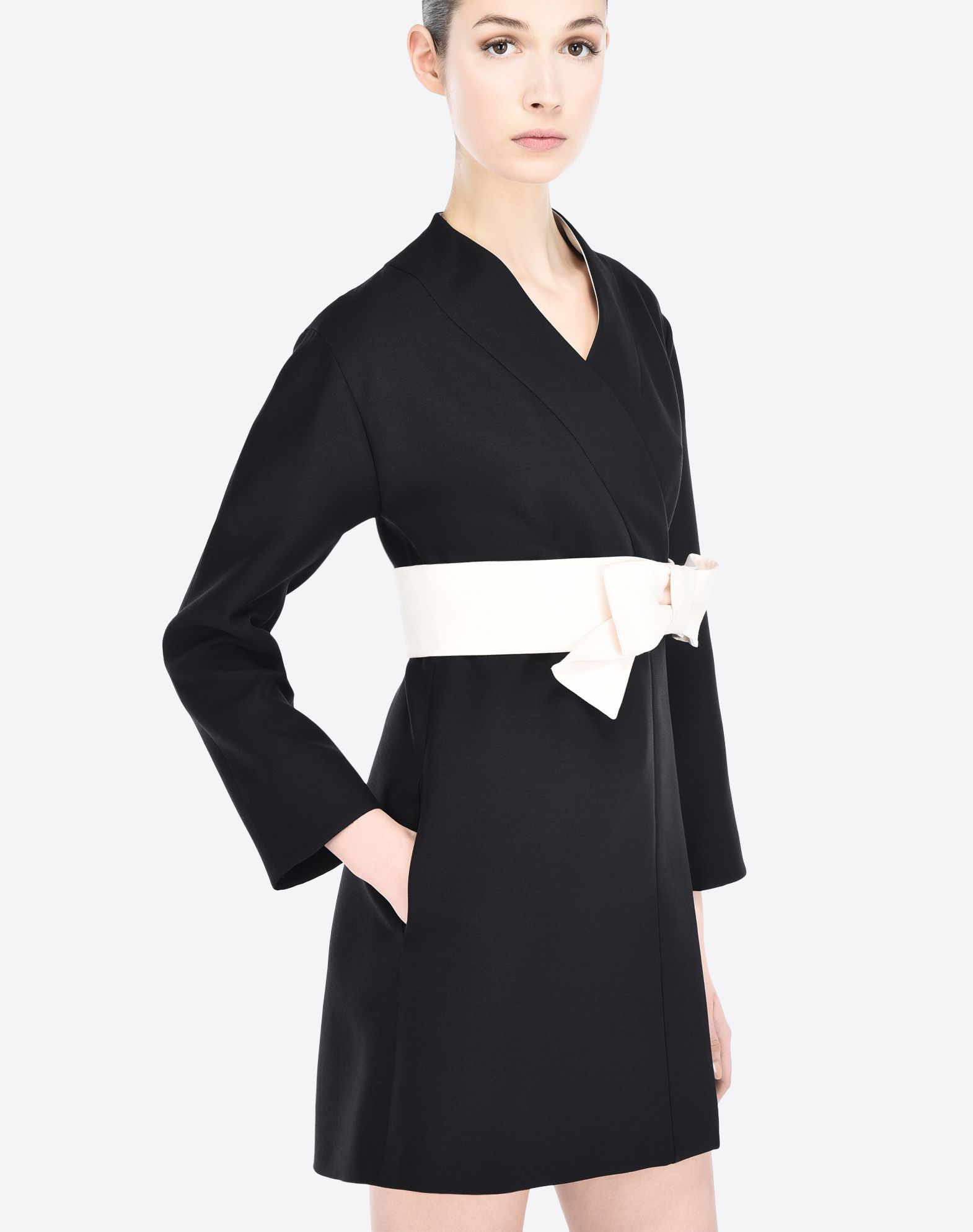 VALENTINO Bow detailing Belt Crêpe Solid colour V-neckline Button closing Side pockets Lined interior Long sleeves  34629878fg