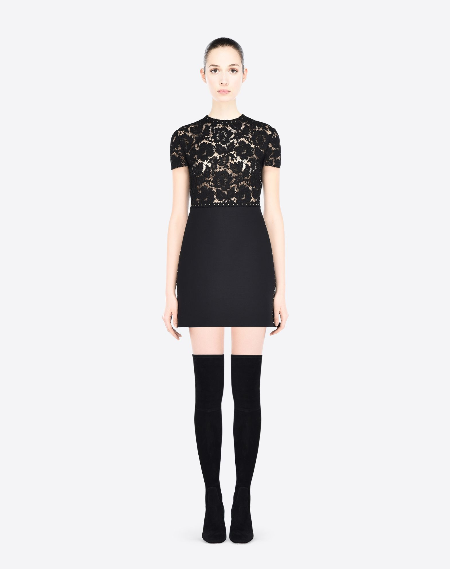 VALENTINO Metal Applications Crêpe Lace Solid color Round collar Hook-and-bar, zip Unlined Short sleeves  34629879bj