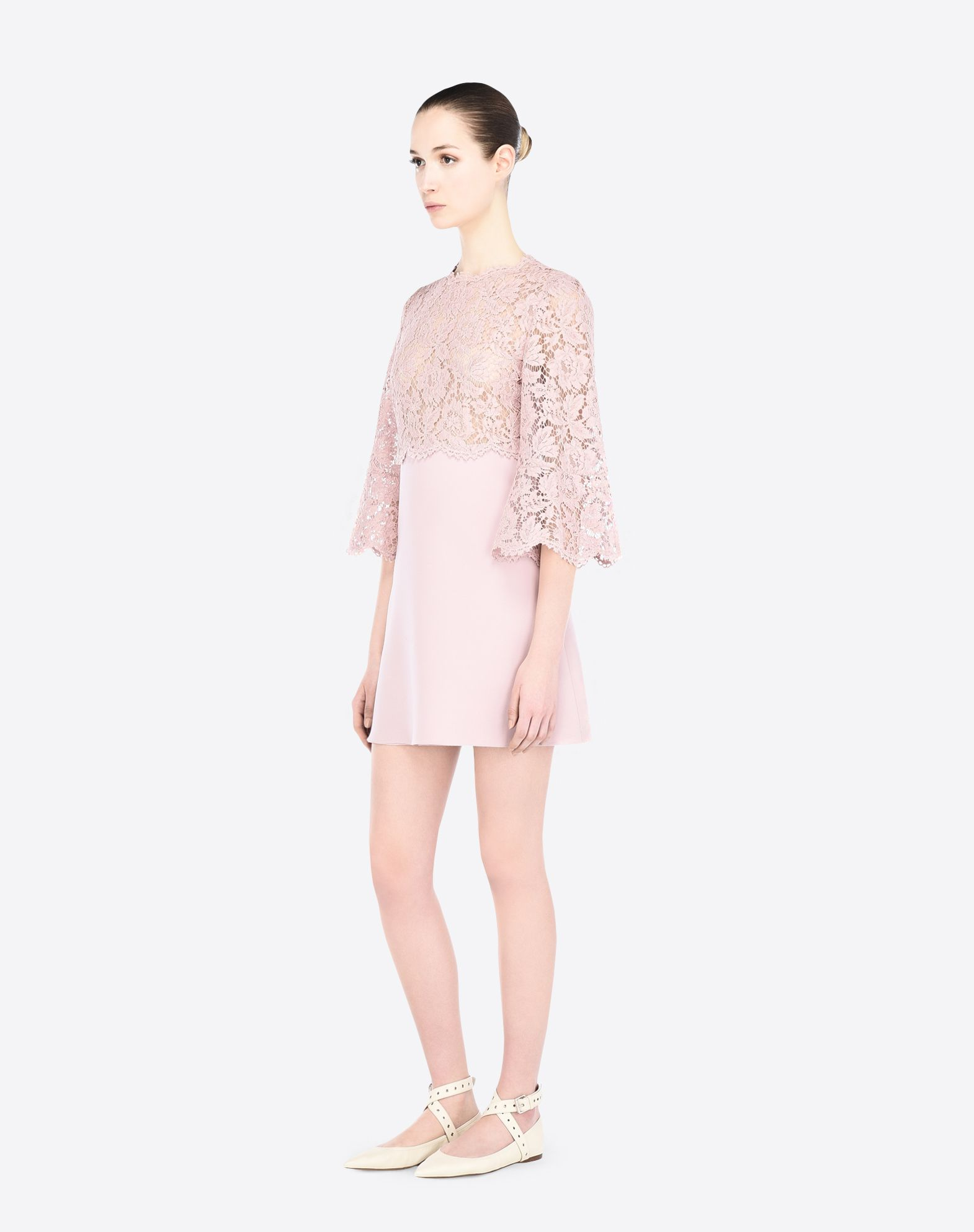 VALENTINO Crêpe Lace Solid color Round collar Hook-and-bar, zip Unlined 3/4 length sleeves  34629880os