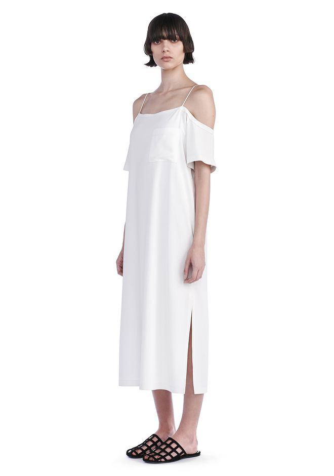 T by ALEXANDER WANG 3/4 Length dresses Women POLY CREPE OFF THE SHOULDER DRESS