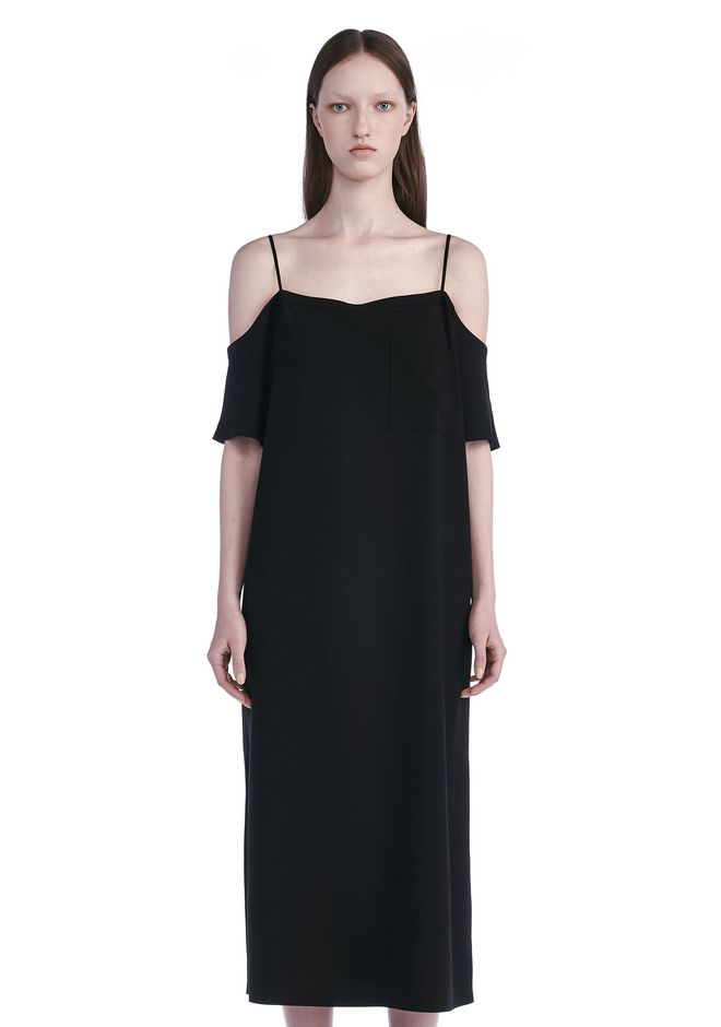 T by ALEXANDER WANG POLY CREPE OFF THE SHOULDER DRESS  3/4 length dress Adult 12_n_e