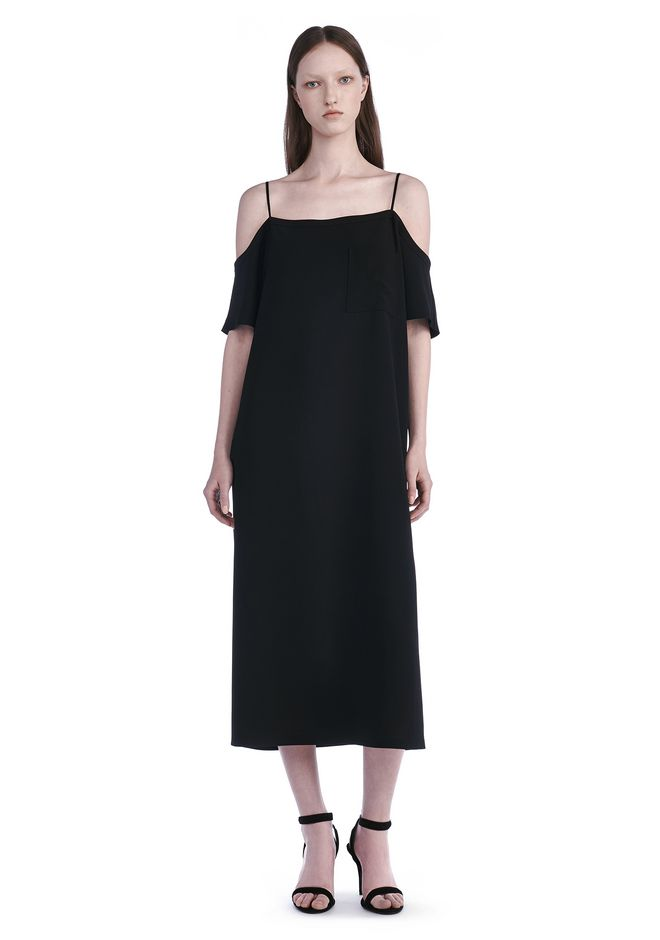 T by ALEXANDER WANG POLY CREPE OFF THE SHOULDER DRESS  3/4 length dress Adult 12_n_f