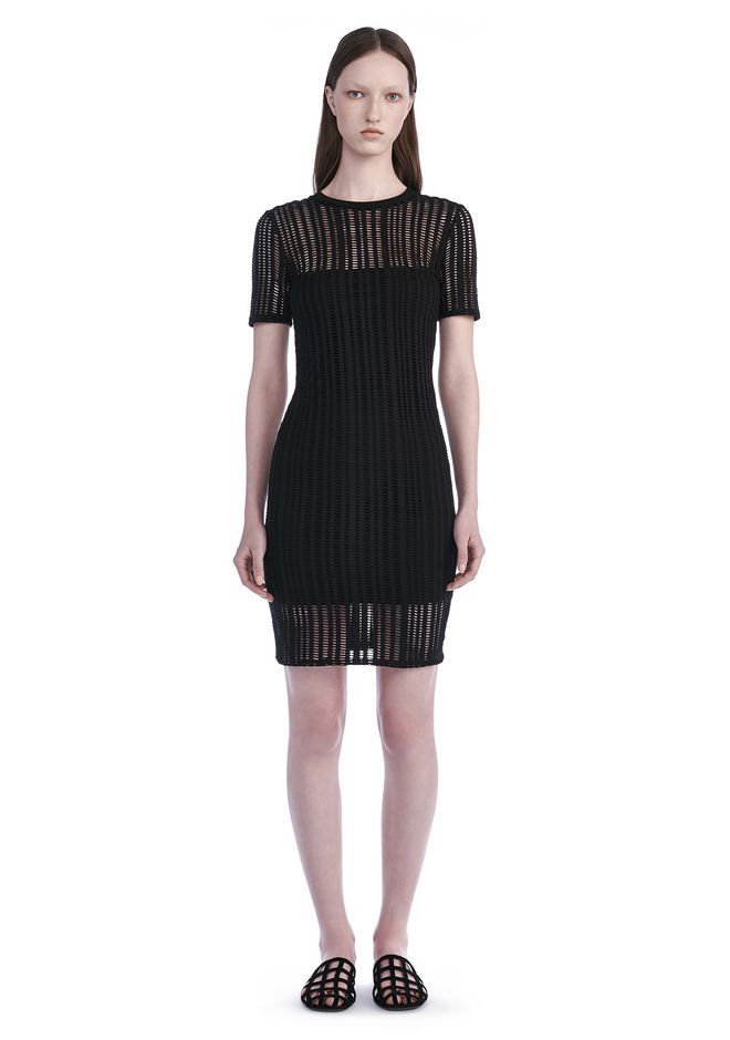 T by ALEXANDER WANG Short Dresses Women STRETCH JACQUARD SHORT SLEEVE DRESS