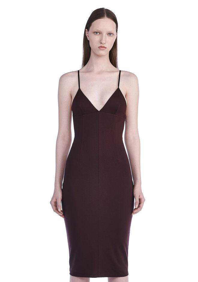 T by ALEXANDER WANG Short Dresses LUX PONTE FITTED SPAGHETTI STRAP DRESS