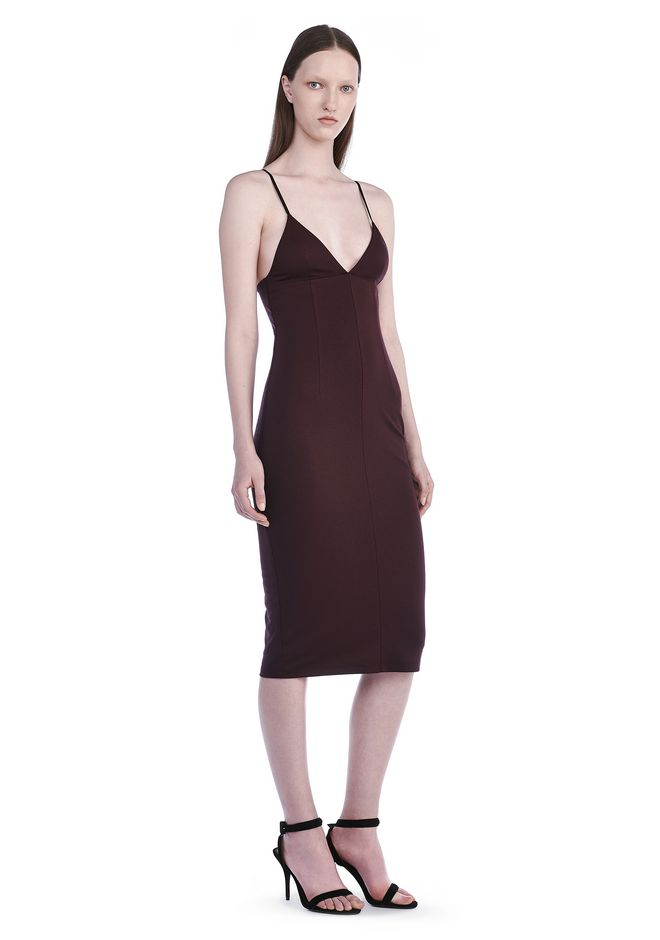 T by ALEXANDER WANG Short Dresses Women LUX PONTE FITTED SPAGHETTI STRAP DRESS