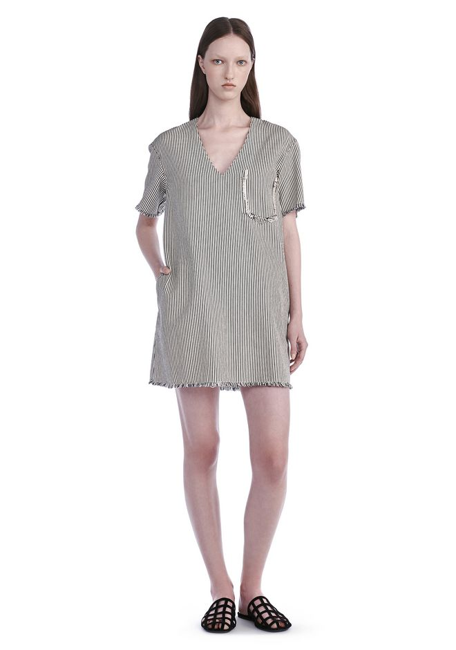 T by ALEXANDER WANG Short Dresses Women FRAYED STRIPED V-NECK DRESS