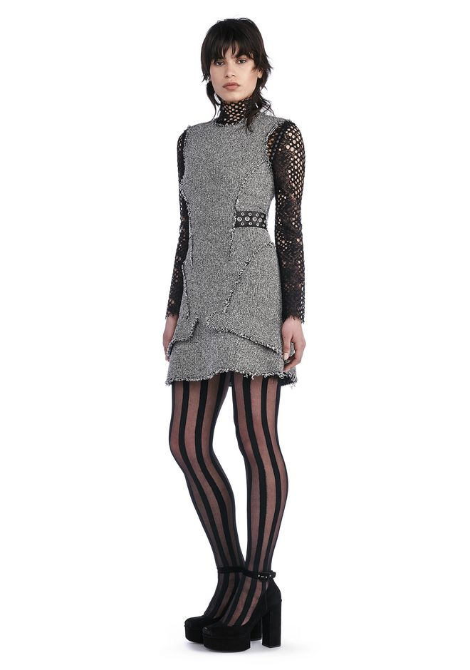 ALEXANDER WANG Short Dresses Women FITTED TWEED PEPLUM DRESS