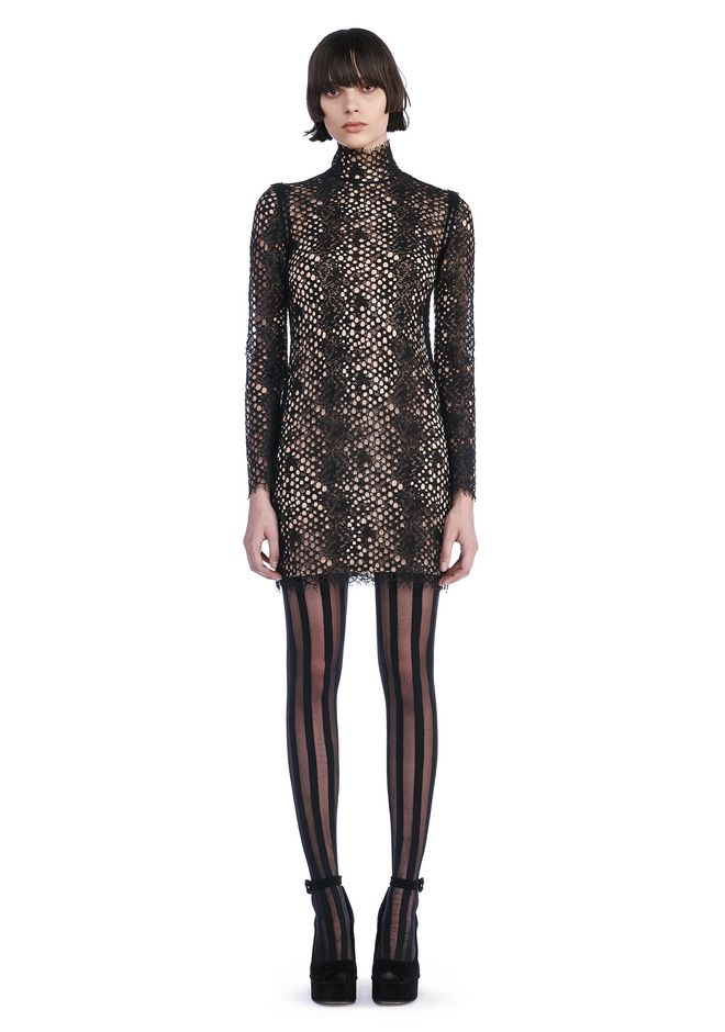 ALEXANDER WANG Short Dresses Women LACE LONG SLEEVE MINI DRESS