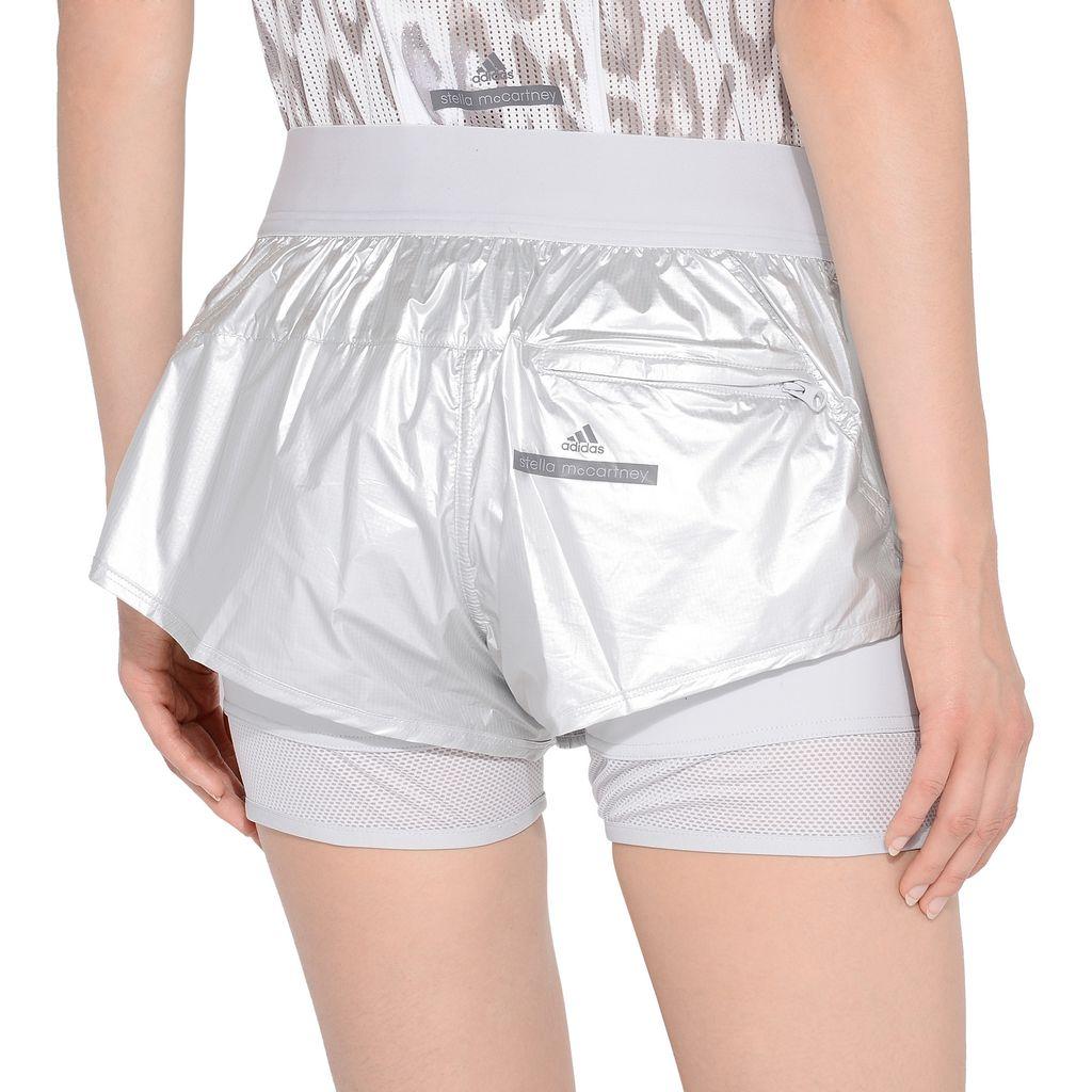 Metallic silver run 2in1 shorts - ADIDAS by STELLA McCARTNEY
