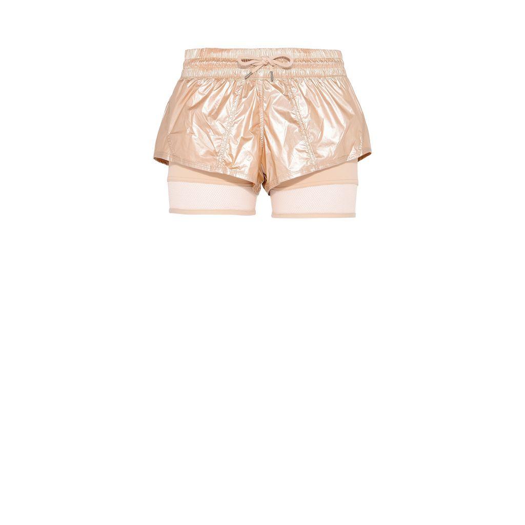 Metallic gold run 2in1 shorts - ADIDAS by STELLA McCARTNEY
