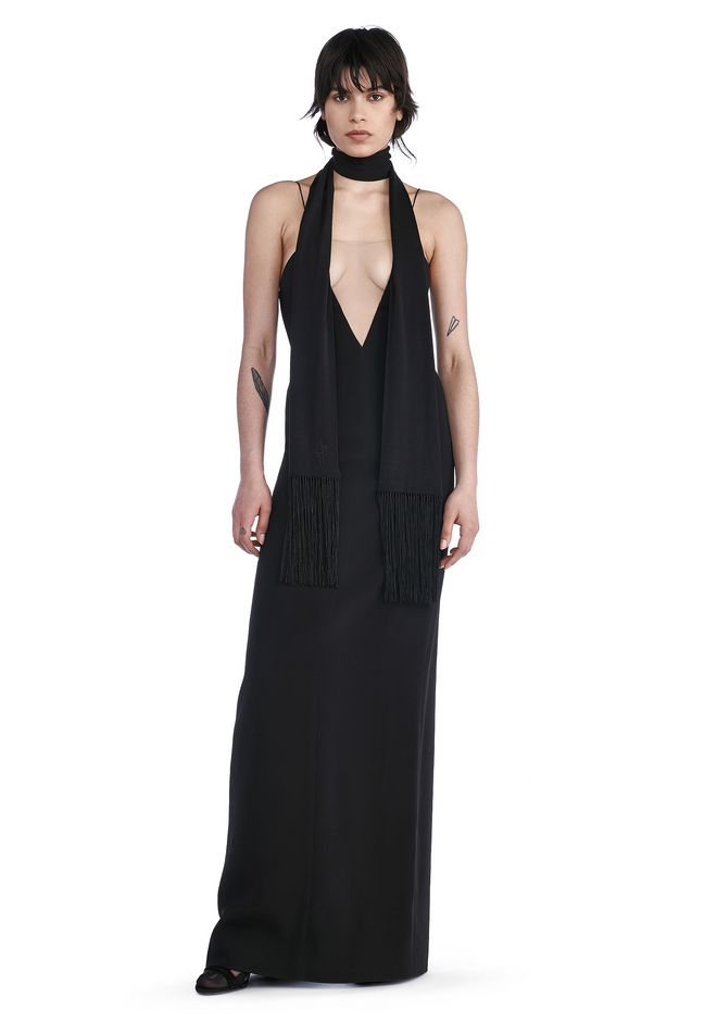 ALEXANDER WANG Long dresses Women V-NECK SLIP GOWN WITH SHEER INSERT