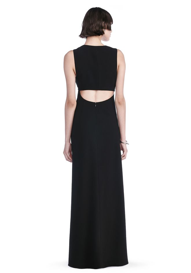 POLY CREPE MAXI DRESS WITH EXPOSED BACK - Long Dress - Alexander ...