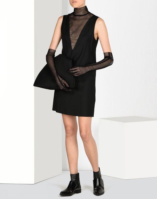 Maison Margiela Wool Dress With Transparent Turtleneck