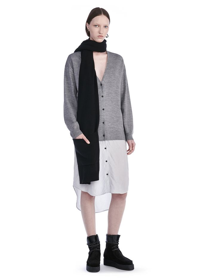 T by ALEXANDER WANG knitwear-t-by-alexander-wang-woman MERINO KNIT CARDIGAN WITH VISCOSE COMBO