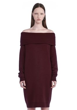 CASHWOOL KNIT OFF THE SHOULDER PULLOVER DRESS