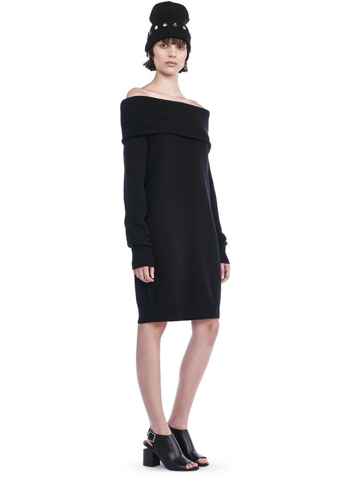 T by ALEXANDER WANG STRICKKLEIDER Für-sie CASHWOOL KNIT OFF THE SHOULDER PULLOVER DRESS