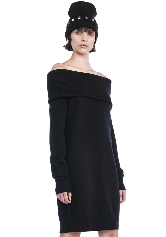 T by ALEXANDER WANG CASHWOOL KNIT OFF THE SHOULDER PULLOVER DRESS  KNIT DRESS Adult 12_n_a