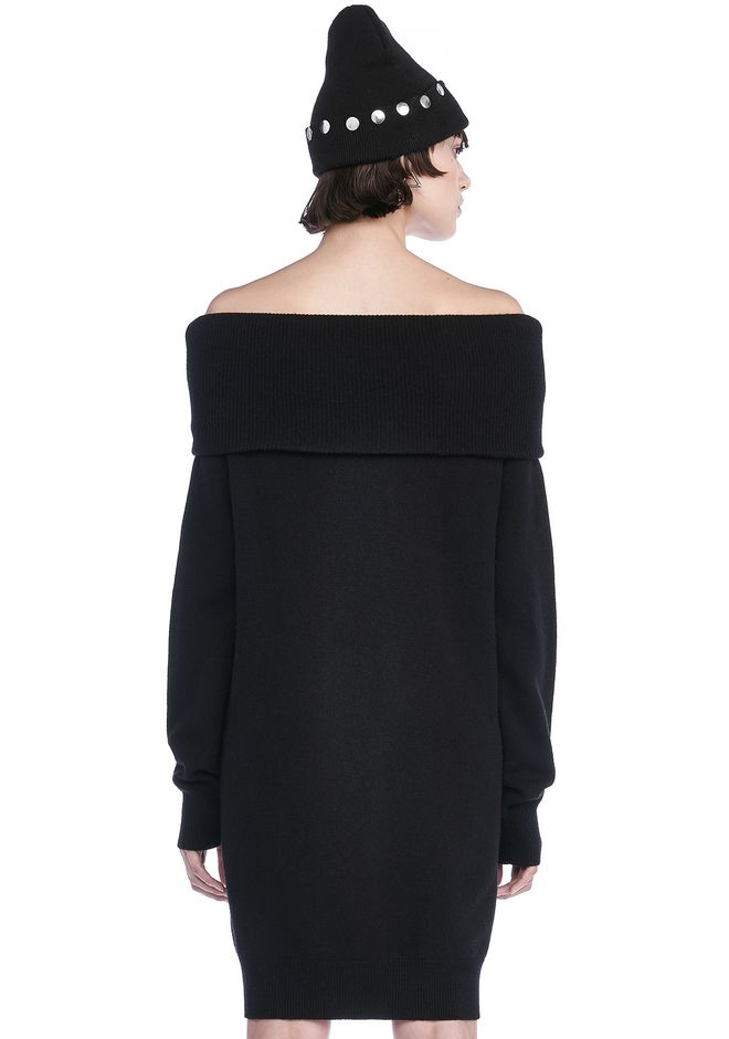 T by ALEXANDER WANG CASHWOOL KNIT OFF THE SHOULDER PULLOVER DRESS  KNIT DRESS Adult 12_n_d