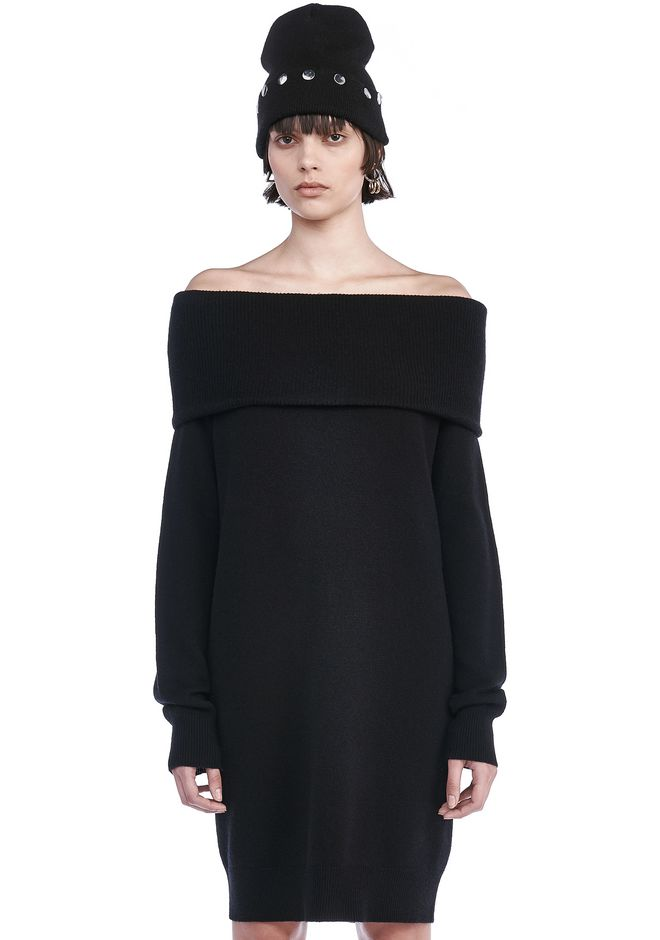 T by ALEXANDER WANG CASHWOOL KNIT OFF THE SHOULDER PULLOVER DRESS  KNIT DRESS Adult 12_n_e